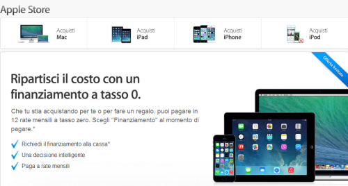 Prestito tasso zero Apple Store
