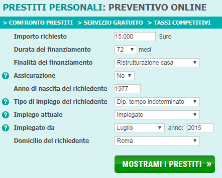 Preventivo Prestiti Online con PrestitiOnline.it